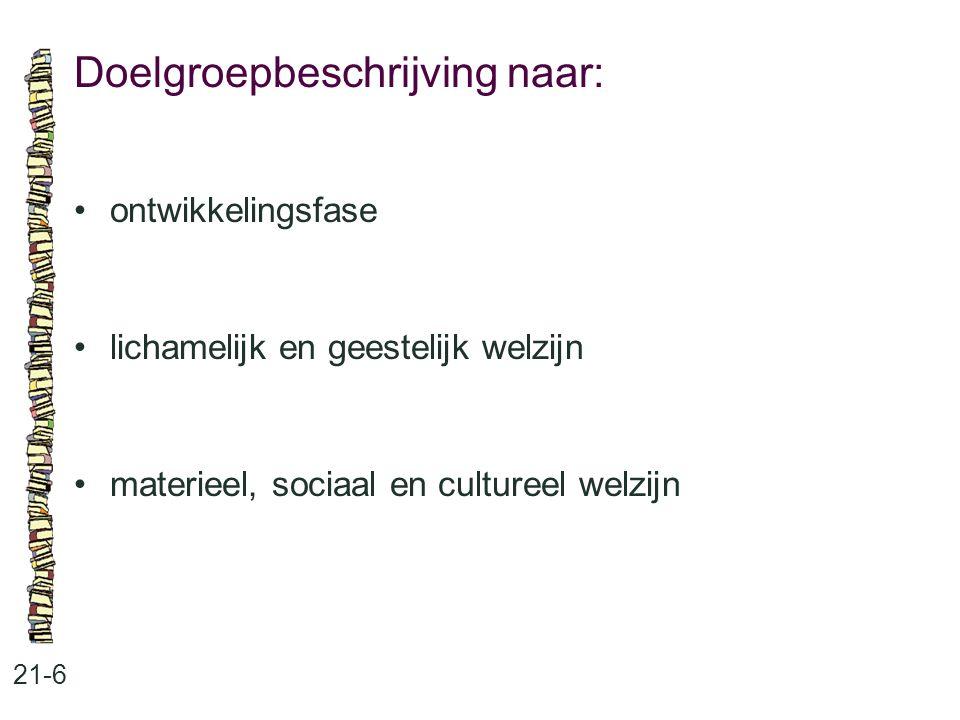 Doelgroepbeschrijving naar: 21-6 ontwikkelingsfase lichamelijk en geestelijk welzijn materieel, sociaal en cultureel welzijn