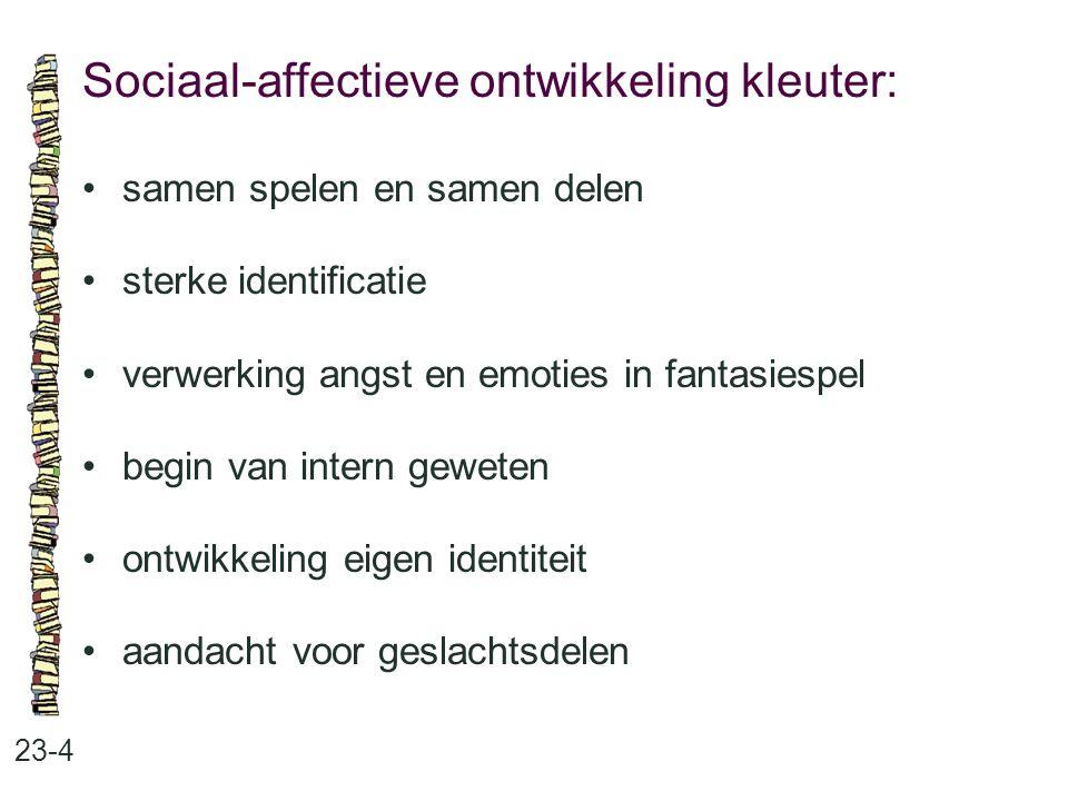 Sociaal-affectieve ontwikkeling kleuter: 23-4 samen spelen en samen delen sterke identificatie verwerking angst en emoties in fantasiespel begin van i