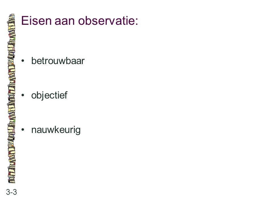 Eisen aan observatie: 3-3 betrouwbaar objectief nauwkeurig