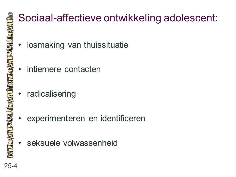 Sociaal-affectieve ontwikkeling adolescent: 25-4 losmaking van thuissituatie intiemere contacten radicalisering experimenteren en identificeren seksue