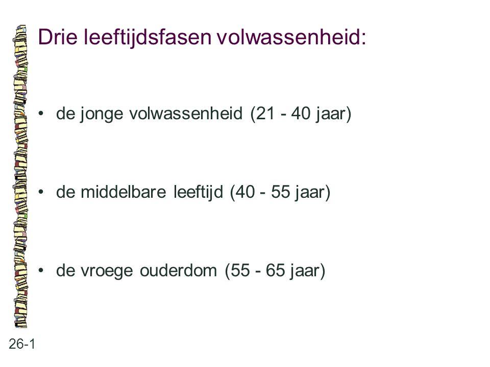 Drie leeftijdsfasen volwassenheid: 26-1 de jonge volwassenheid (21 - 40 jaar) de middelbare leeftijd (40 - 55 jaar) de vroege ouderdom (55 - 65 jaar)