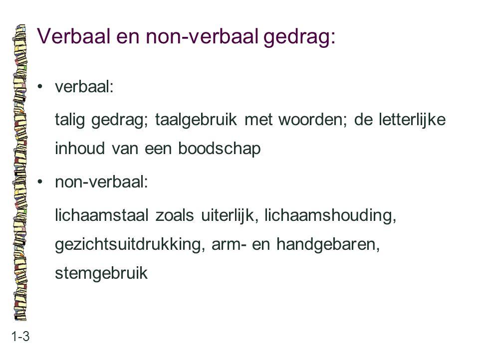 Verbaal en non-verbaal gedrag: 1-3 verbaal: talig gedrag; taalgebruik met woorden; de letterlijke inhoud van een boodschap non-verbaal: lichaamstaal z