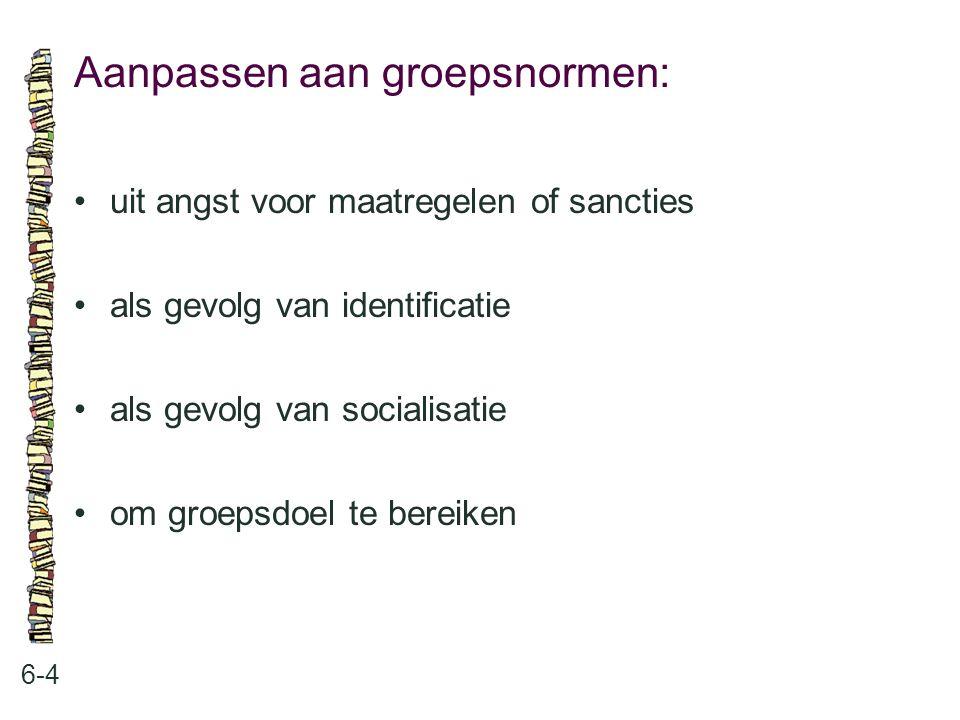 Aanpassen aan groepsnormen: 6-4 uit angst voor maatregelen of sancties als gevolg van identificatie als gevolg van socialisatie om groepsdoel te berei