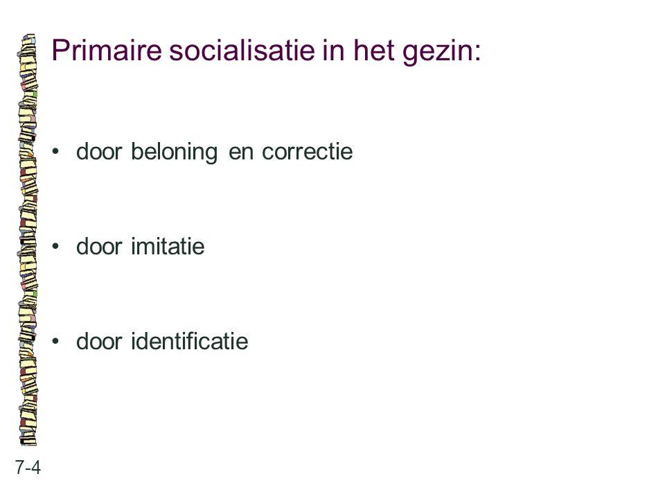 Primaire socialisatie in het gezin: 7-4 door beloning en correctie door imitatie door identificatie