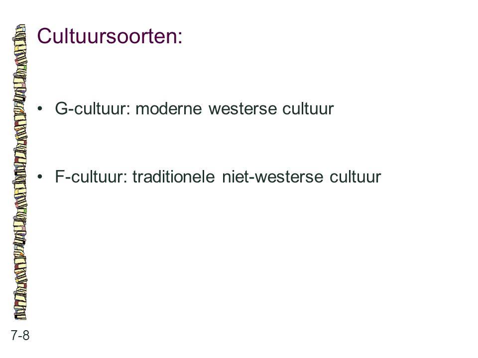 Cultuursoorten: 7-8 G-cultuur: moderne westerse cultuur F-cultuur: traditionele niet-westerse cultuur