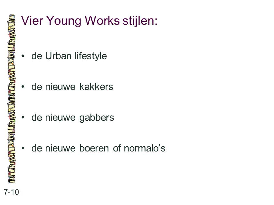 Vier Young Works stijlen: 7-10 de Urban lifestyle de nieuwe kakkers de nieuwe gabbers de nieuwe boeren of normalo's