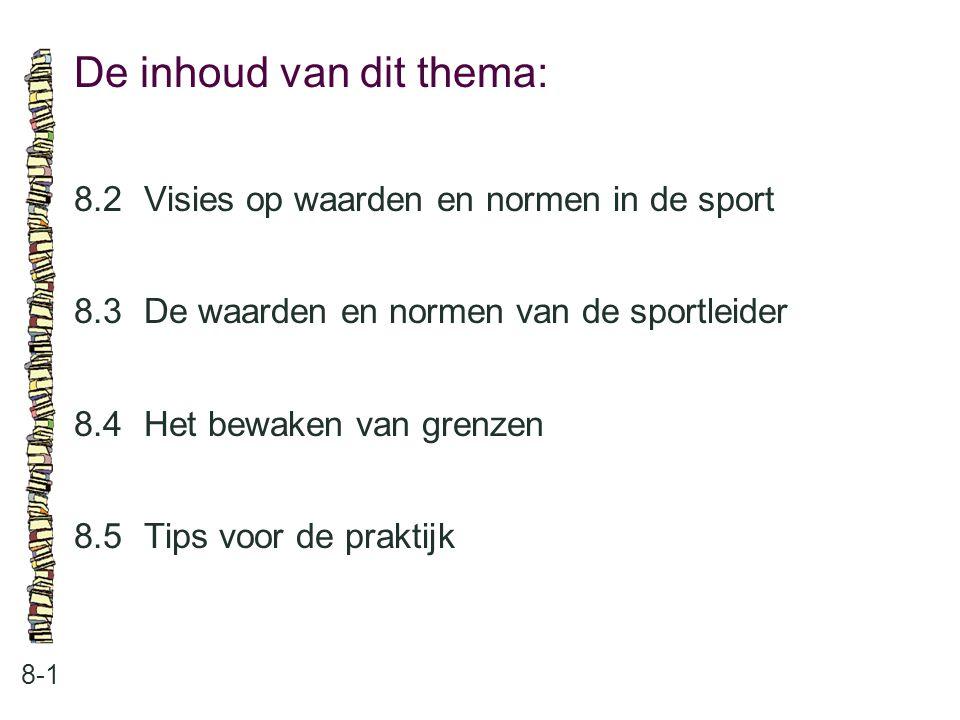 De inhoud van dit thema: 8-1 8.2Visies op waarden en normen in de sport 8.3 De waarden en normen van de sportleider 8.4 Het bewaken van grenzen 8.5 Ti