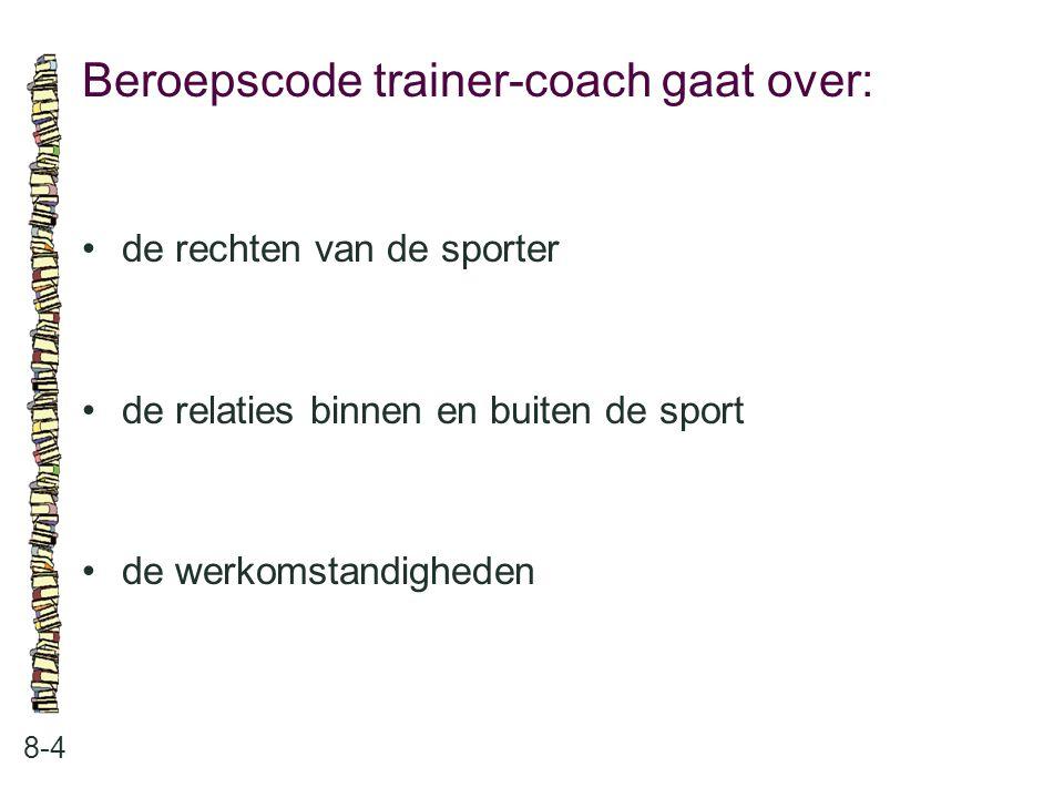 Beroepscode trainer-coach gaat over: 8-4 de rechten van de sporter de relaties binnen en buiten de sport de werkomstandigheden