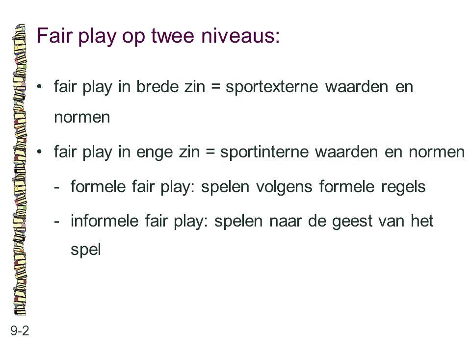 Fair play op twee niveaus: 9-2 fair play in brede zin = sportexterne waarden en normen fair play in enge zin = sportinterne waarden en normen -formele
