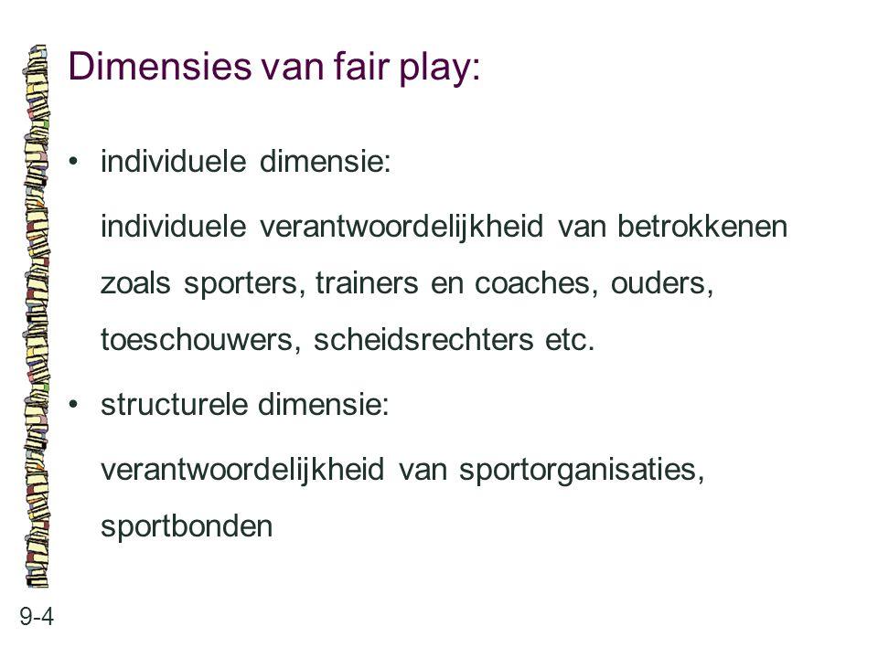 Dimensies van fair play: 9-4 individuele dimensie: individuele verantwoordelijkheid van betrokkenen zoals sporters, trainers en coaches, ouders, toesc