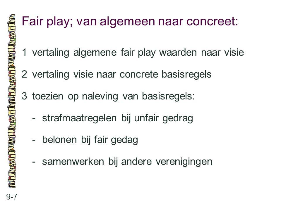Fair play; van algemeen naar concreet: 9-7 1vertaling algemene fair play waarden naar visie 2vertaling visie naar concrete basisregels 3toezien op nal