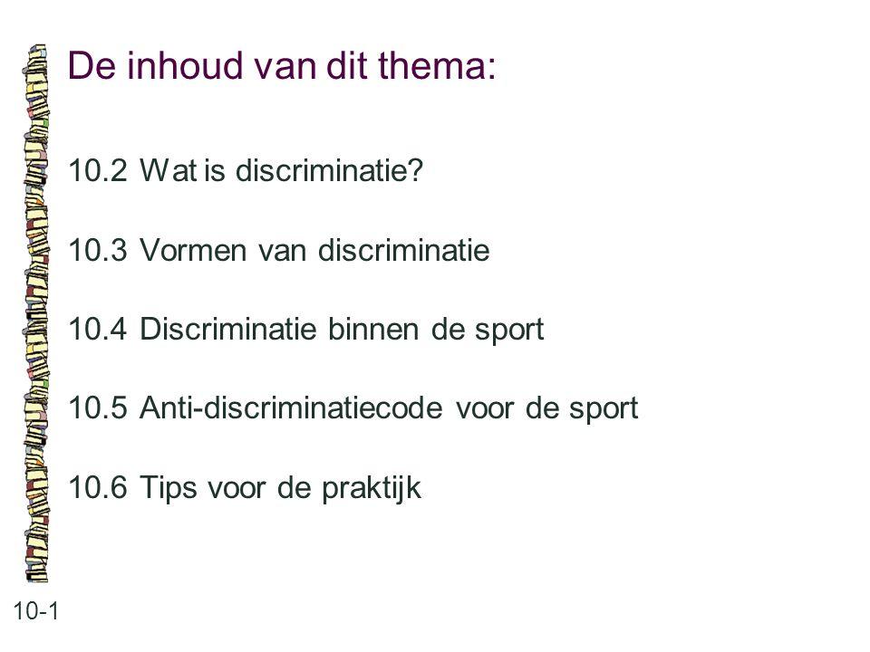 De inhoud van dit thema: 10-1 10.2Wat is discriminatie? 10.3Vormen van discriminatie 10.4Discriminatie binnen de sport 10.5Anti-discriminatiecode voor
