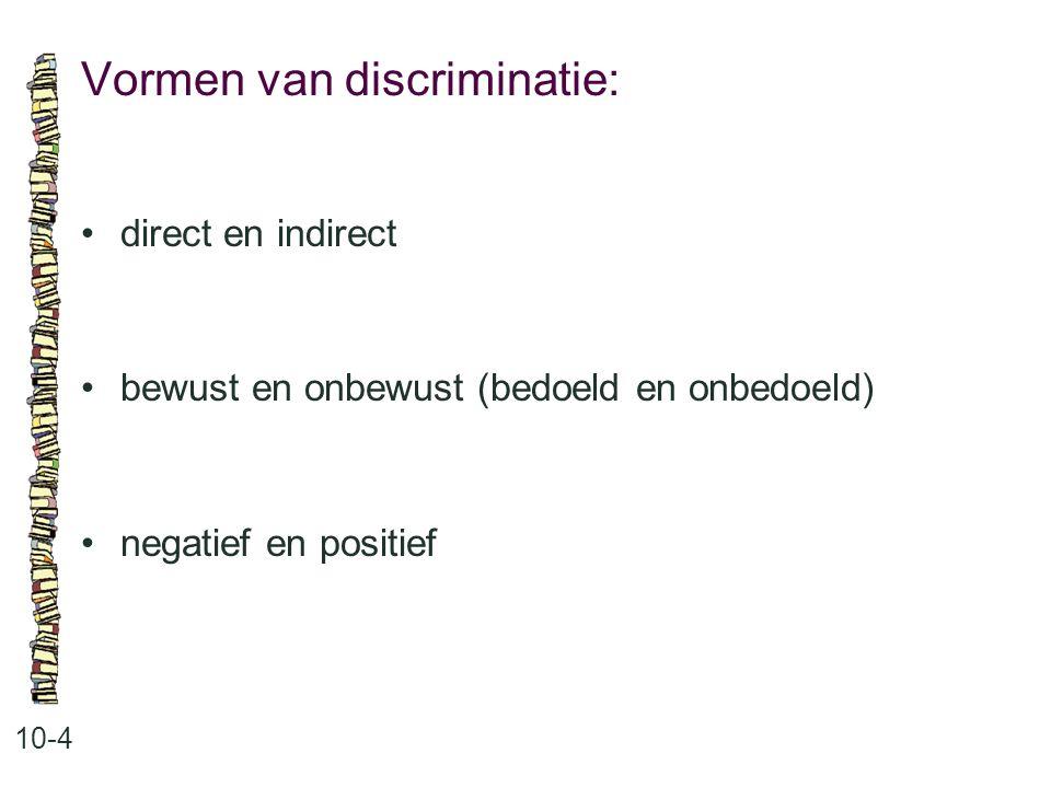 Vormen van discriminatie: 10-4 direct en indirect bewust en onbewust (bedoeld en onbedoeld) negatief en positief