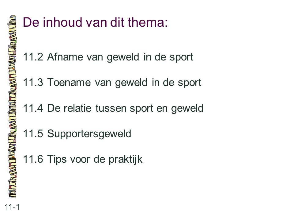 De inhoud van dit thema: 11-1 11.2Afname van geweld in de sport 11.3Toename van geweld in de sport 11.4 De relatie tussen sport en geweld 11.5 Support