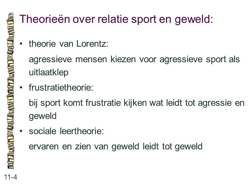 Theorieën over relatie sport en geweld: 11-4 theorie van Lorentz: agressieve mensen kiezen voor agressieve sport als uitlaatklep frustratietheorie: bi