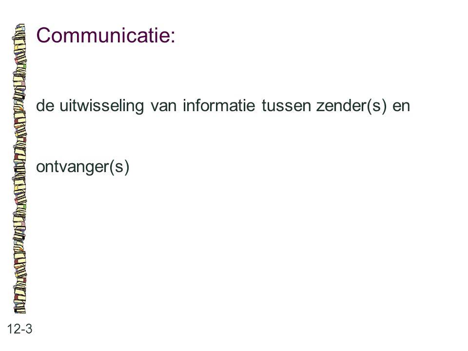 Communicatie: 12-3 de uitwisseling van informatie tussen zender(s) en ontvanger(s)