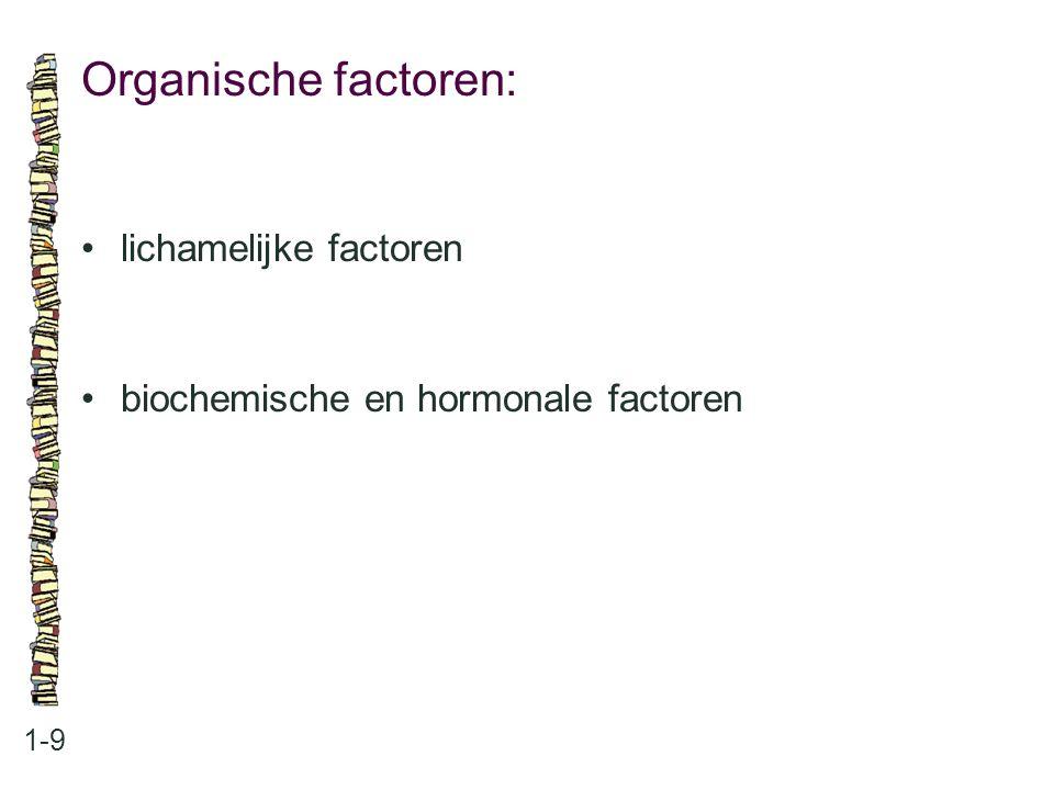 Organische factoren: 1-9 lichamelijke factoren biochemische en hormonale factoren
