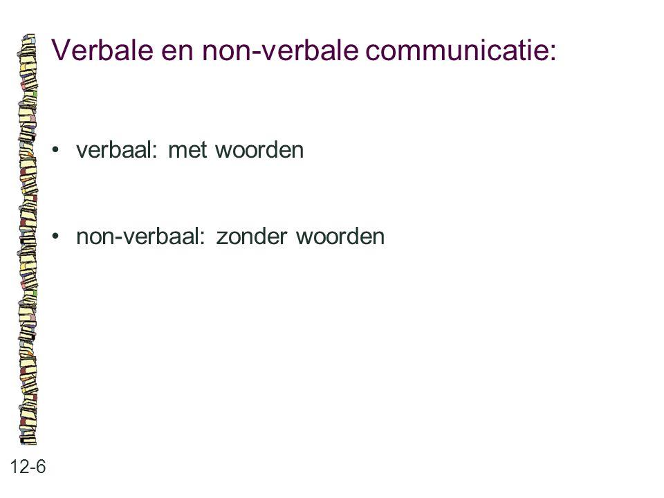 Verbale en non-verbale communicatie: 12-6 verbaal: met woorden non-verbaal: zonder woorden
