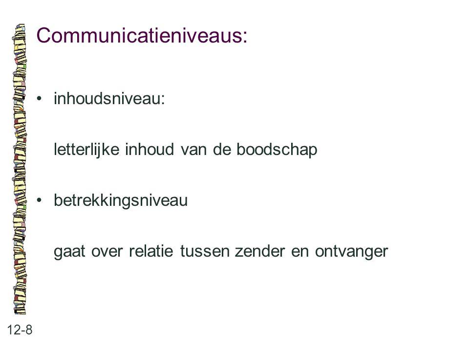 Communicatieniveaus: 12-8 inhoudsniveau: letterlijke inhoud van de boodschap betrekkingsniveau gaat over relatie tussen zender en ontvanger