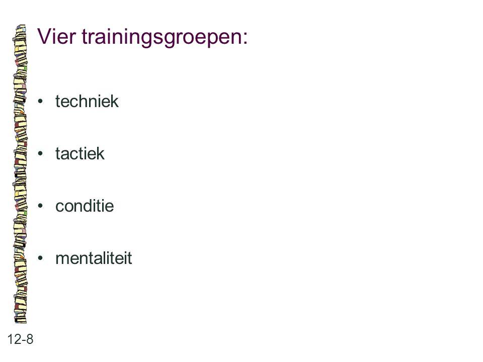 Vier trainingsgroepen: 12-8 techniek tactiek conditie mentaliteit