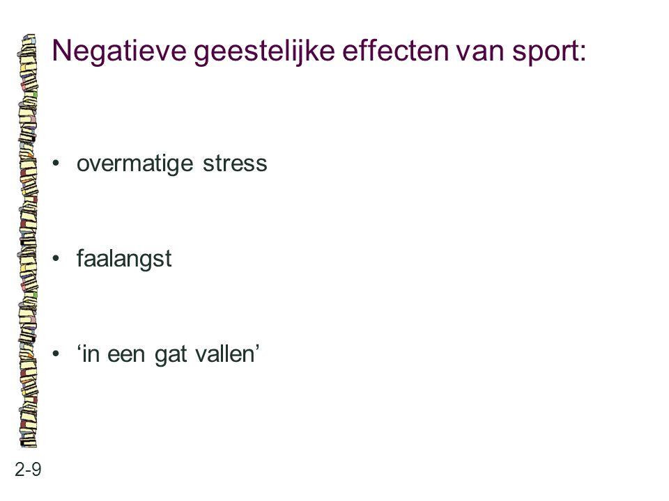 Negatieve geestelijke effecten van sport: 2-9 overmatige stress faalangst 'in een gat vallen'