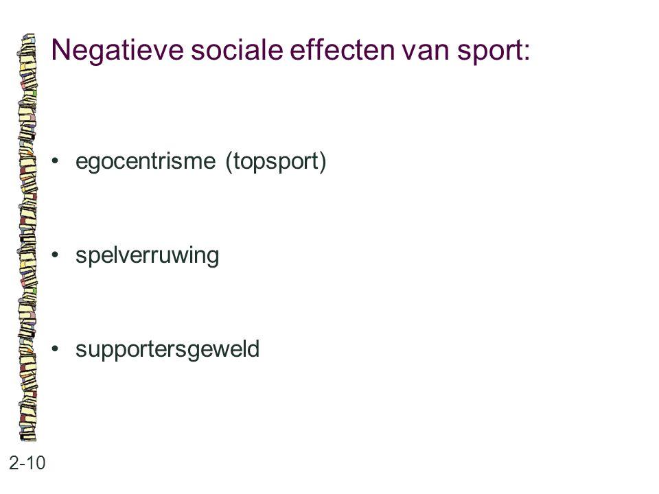 Negatieve sociale effecten van sport: 2-10 egocentrisme (topsport) spelverruwing supportersgeweld