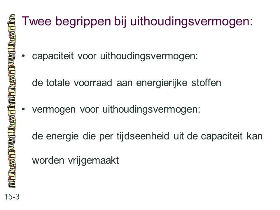 Twee begrippen bij uithoudingsvermogen: 15-3 capaciteit voor uithoudingsvermogen: de totale voorraad aan energierijke stoffen vermogen voor uithouding