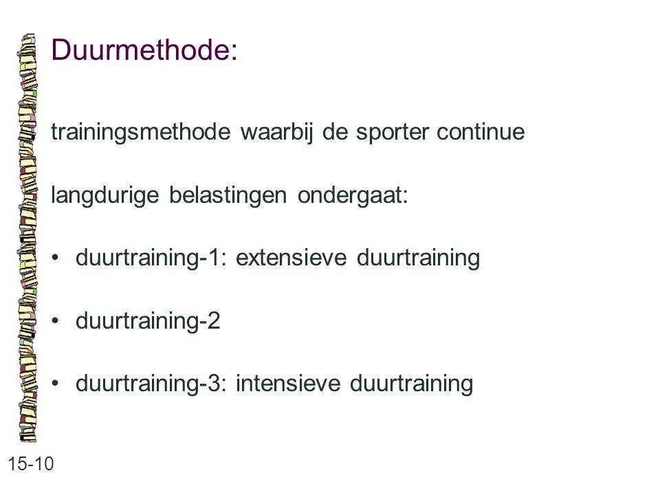 Duurmethode: 15-10 trainingsmethode waarbij de sporter continue langdurige belastingen ondergaat: duurtraining-1: extensieve duurtraining duurtraining