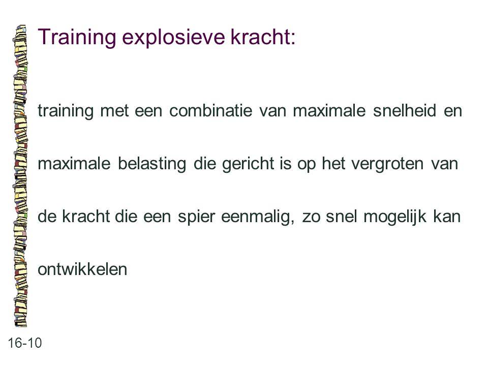 Training explosieve kracht: 16-10 training met een combinatie van maximale snelheid en maximale belasting die gericht is op het vergroten van de krach