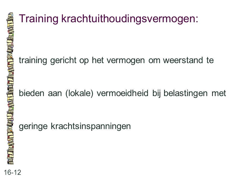 Training krachtuithoudingsvermogen: 16-12 training gericht op het vermogen om weerstand te bieden aan (lokale) vermoeidheid bij belastingen met gering
