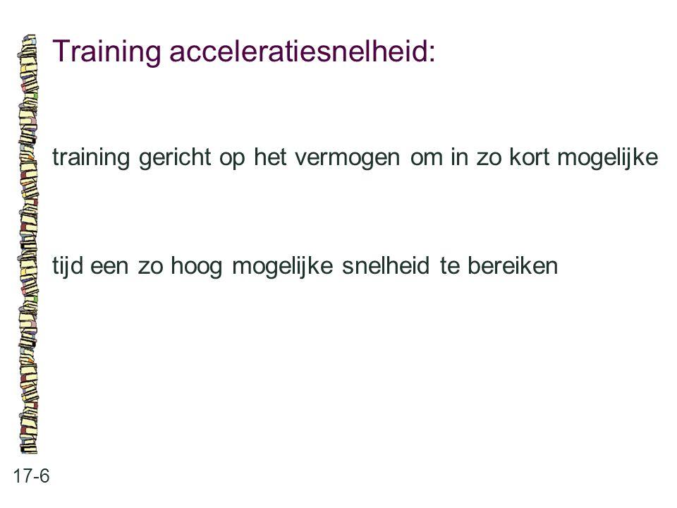 Training acceleratiesnelheid: 17-6 training gericht op het vermogen om in zo kort mogelijke tijd een zo hoog mogelijke snelheid te bereiken