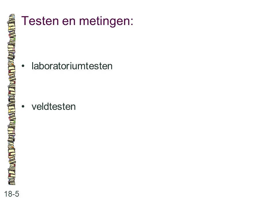 Testen en metingen: 18-5 laboratoriumtesten veldtesten