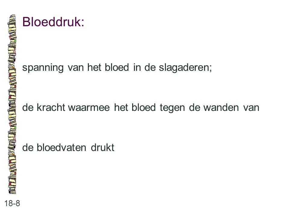 Bloeddruk: 18-8 spanning van het bloed in de slagaderen; de kracht waarmee het bloed tegen de wanden van de bloedvaten drukt