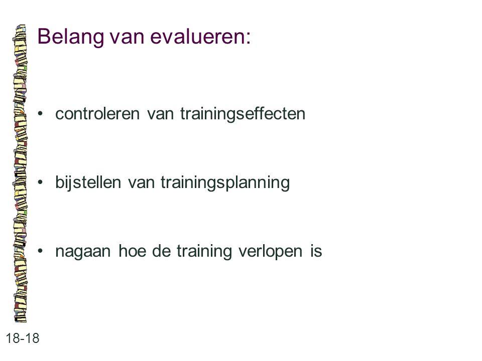 Belang van evalueren: 18-18 controleren van trainingseffecten bijstellen van trainingsplanning nagaan hoe de training verlopen is