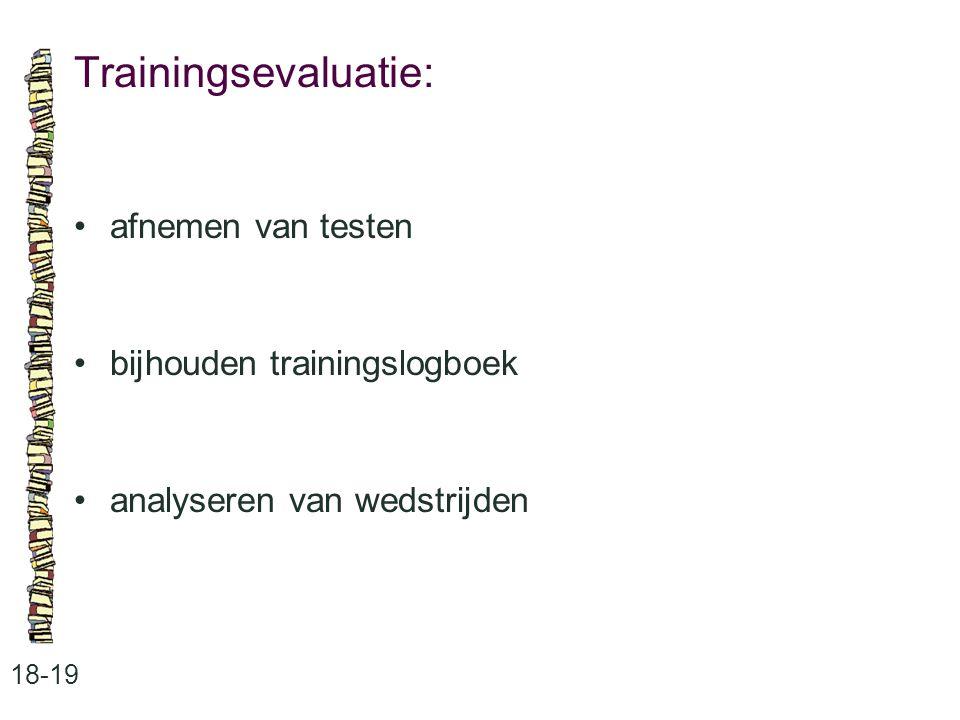 Trainingsevaluatie: 18-19 afnemen van testen bijhouden trainingslogboek analyseren van wedstrijden