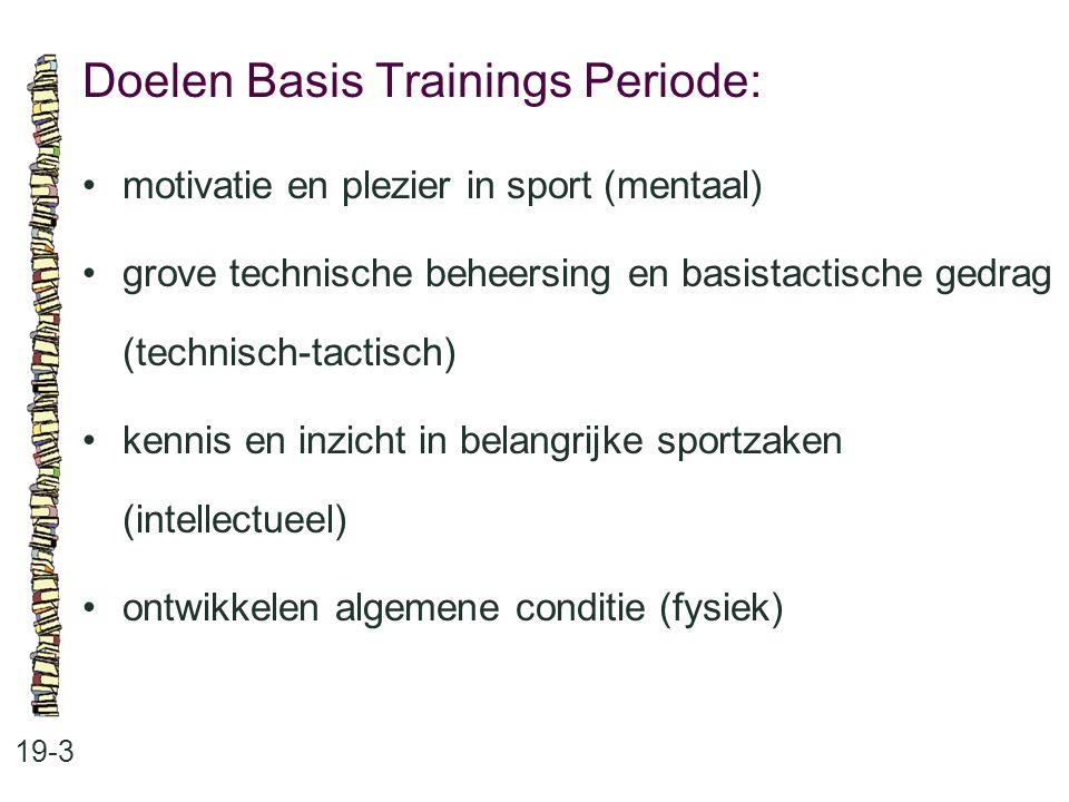 Doelen Basis Trainings Periode: 19-3 motivatie en plezier in sport (mentaal) grove technische beheersing en basistactische gedrag (technisch-tactisch)