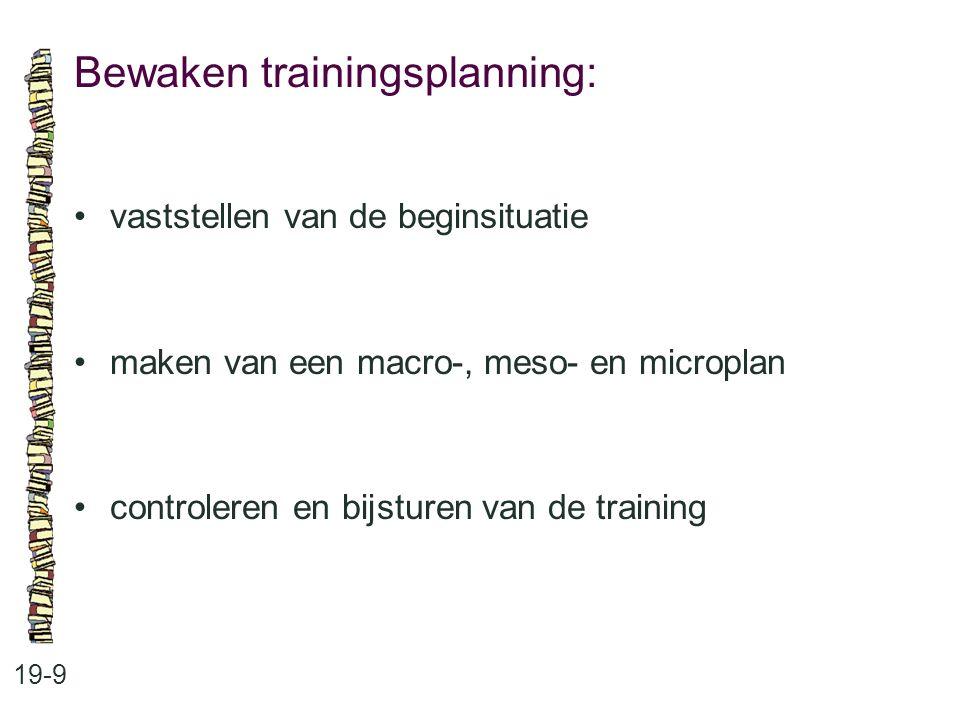 Bewaken trainingsplanning: 19-9 vaststellen van de beginsituatie maken van een macro-, meso- en microplan controleren en bijsturen van de training