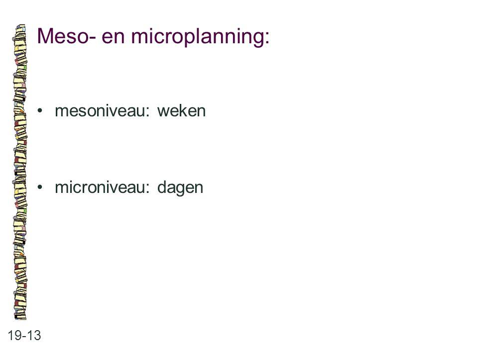 Meso- en microplanning: 19-13 mesoniveau: weken microniveau: dagen