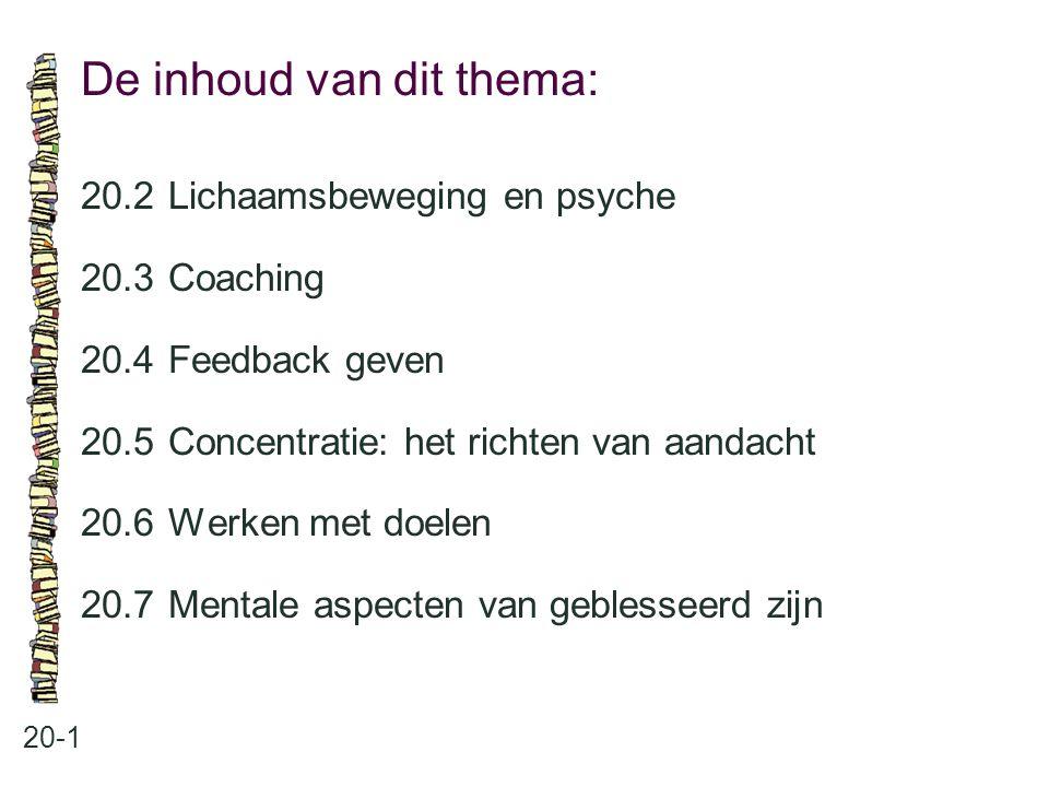 De inhoud van dit thema: 20-1 20.2 Lichaamsbeweging en psyche 20.3 Coaching 20.4 Feedback geven 20.5 Concentratie: het richten van aandacht 20.6 Werke