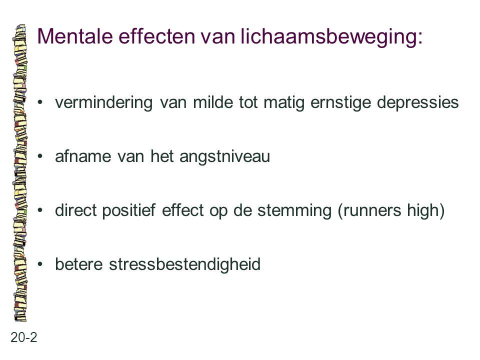 Mentale effecten van lichaamsbeweging: 20-2 vermindering van milde tot matig ernstige depressies afname van het angstniveau direct positief effect op