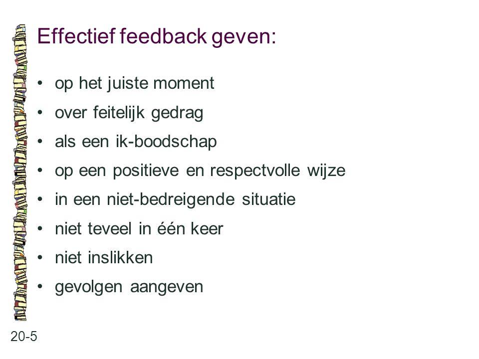 Effectief feedback geven: 20-5 op het juiste moment over feitelijk gedrag als een ik-boodschap op een positieve en respectvolle wijze in een niet-bedr