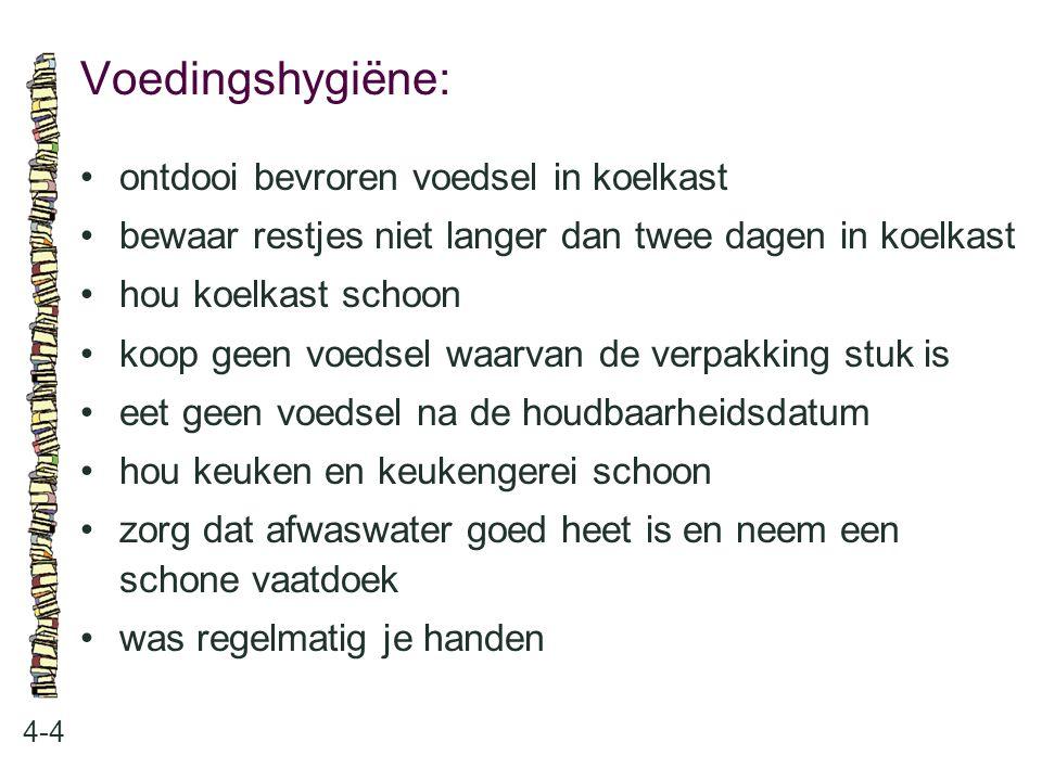 Voedingshygiëne: 4-4 ontdooi bevroren voedsel in koelkast bewaar restjes niet langer dan twee dagen in koelkast hou koelkast schoon koop geen voedsel