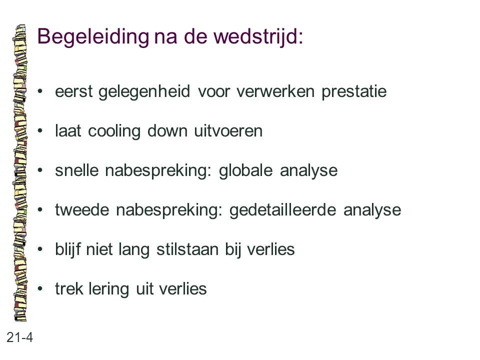 Begeleiding na de wedstrijd: 21-4 eerst gelegenheid voor verwerken prestatie laat cooling down uitvoeren snelle nabespreking: globale analyse tweede n