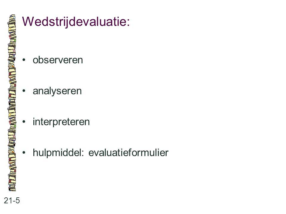 Wedstrijdevaluatie: 21-5 observeren analyseren interpreteren hulpmiddel: evaluatieformulier