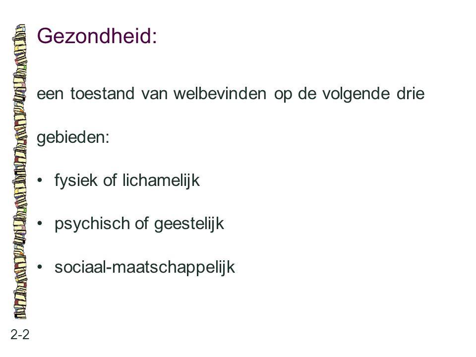 Gezondheid: 2-2 een toestand van welbevinden op de volgende drie gebieden: fysiek of lichamelijk psychisch of geestelijk sociaal-maatschappelijk