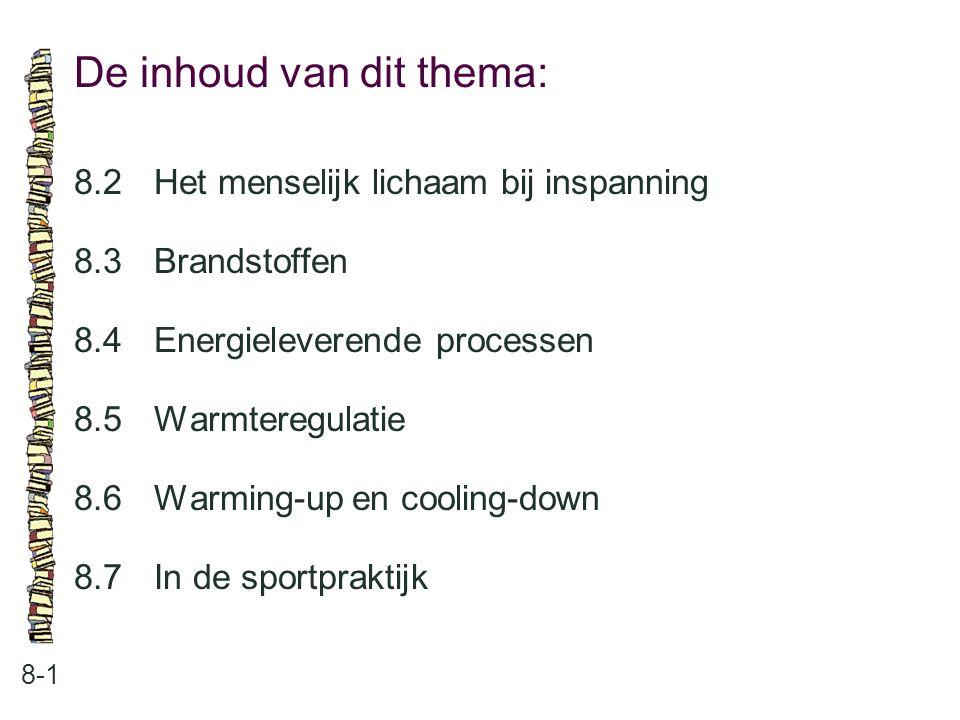 De inhoud van dit thema: 8-1 8.2 Het menselijk lichaam bij inspanning 8.3 Brandstoffen 8.4 Energieleverende processen 8.5 Warmteregulatie 8.6 Warming-