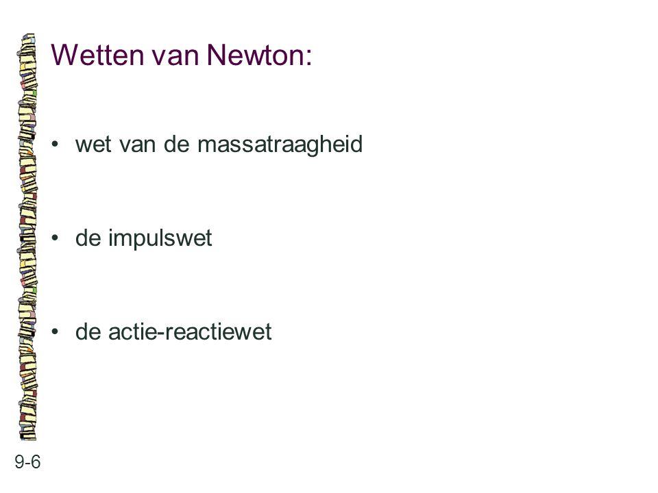 Wetten van Newton: 9-6 wet van de massatraagheid de impulswet de actie-reactiewet