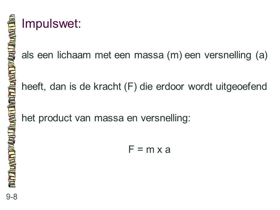 Impulswet: 9-8 als een lichaam met een massa (m) een versnelling (a) heeft, dan is de kracht (F) die erdoor wordt uitgeoefend het product van massa en