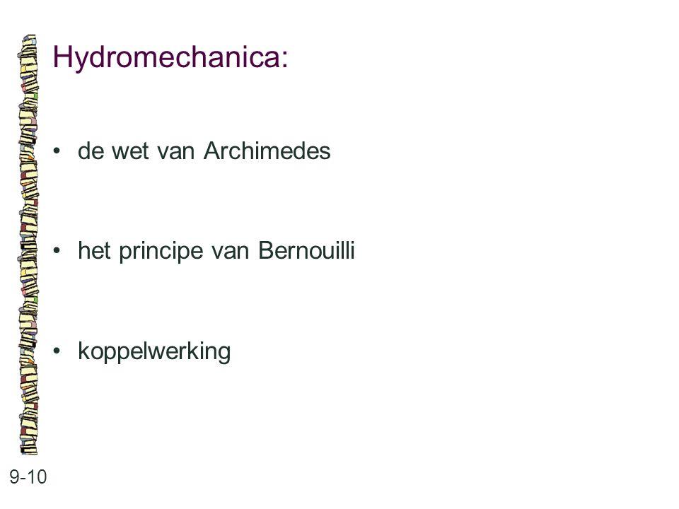 Hydromechanica: 9-10 de wet van Archimedes het principe van Bernouilli koppelwerking