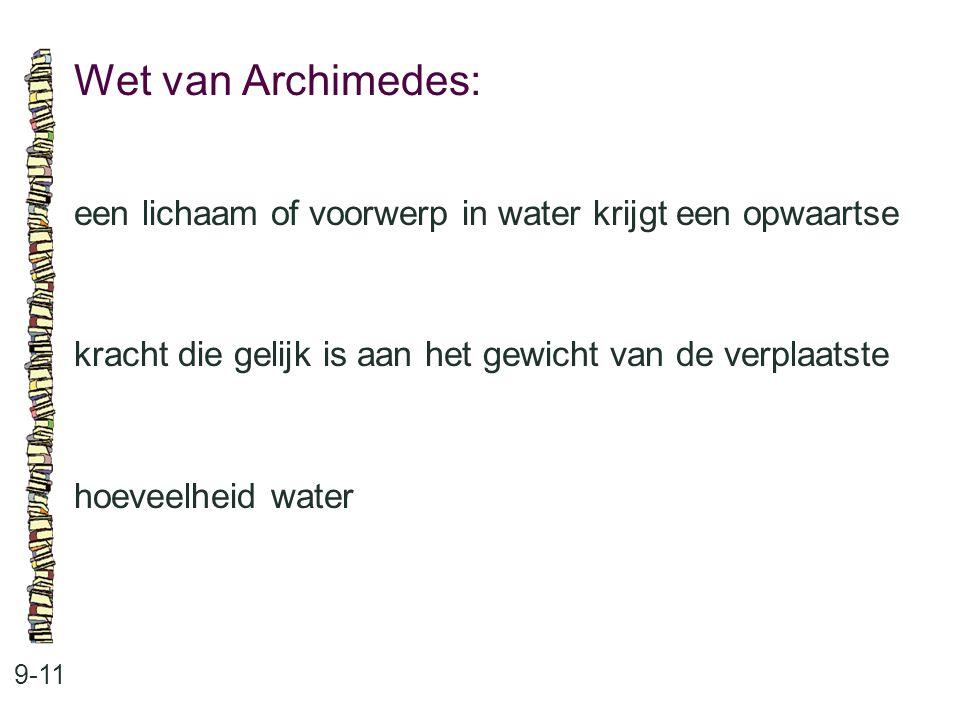 Wet van Archimedes: 9-11 een lichaam of voorwerp in water krijgt een opwaartse kracht die gelijk is aan het gewicht van de verplaatste hoeveelheid wat